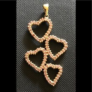 "Jewelry - 14k pink topaz hearts! 2"" long with bail pendant!"